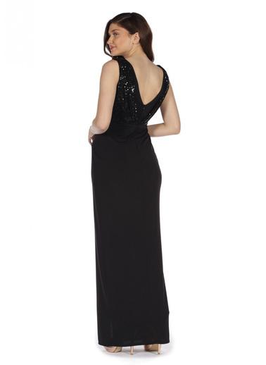 Pierre Cardin V Yaka Yırtmaçlı Uzun Abiye Elbise Siyah